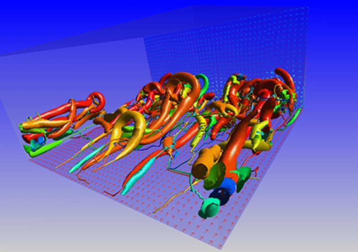 Numerical simulation of coherent structures in a wall boundary layer