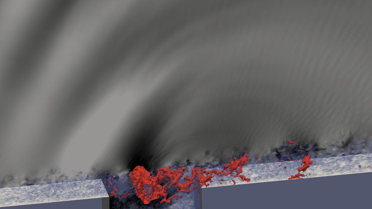 Turbulente aeroakustische Fugenströmung mit tonalen Rossiter-Feedback  (c)