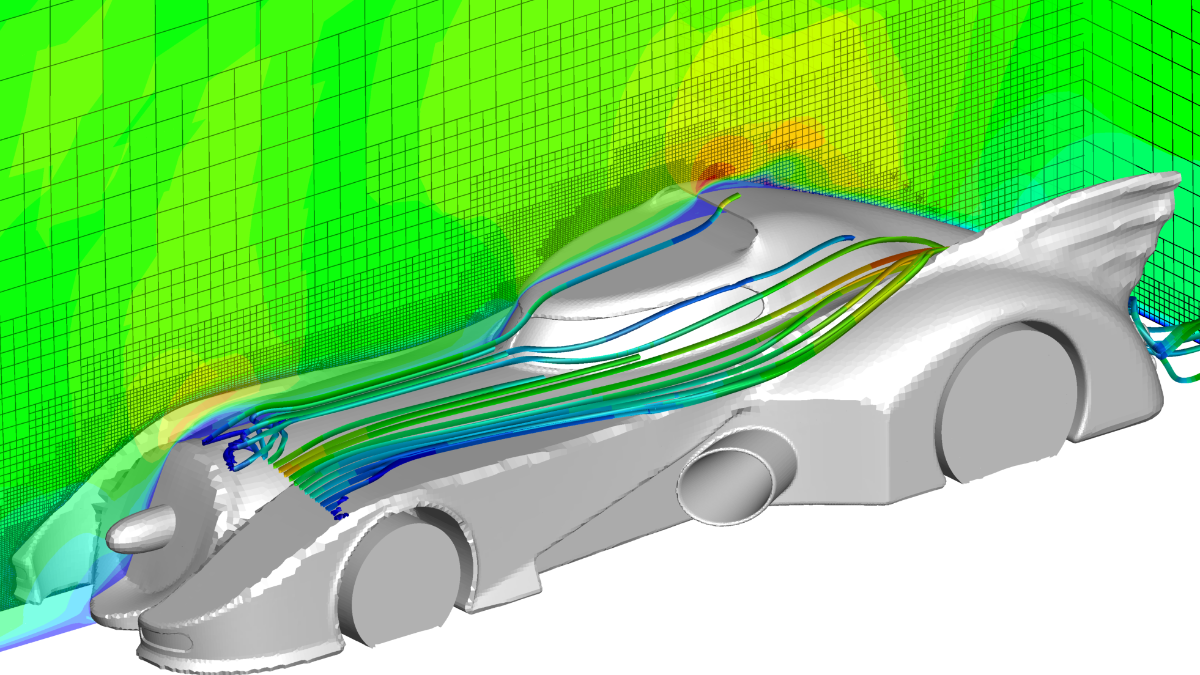 Adaptive Vernetzung komplexer Geometrie:  Unstrukturiertes, nichtkonformes Gitter für ein Fahrzeug  (c)