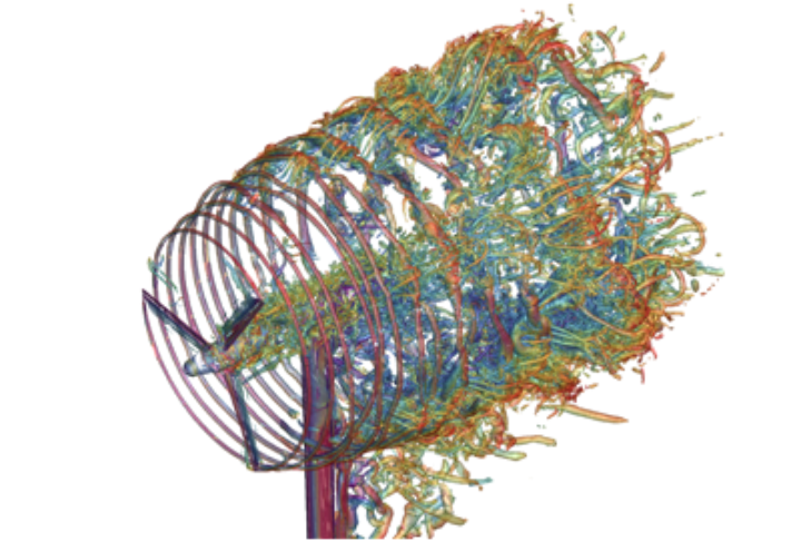 Detailed simulation of a wind turbine