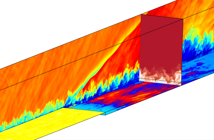 Einblasen von kühlem Stickstoff (Mach 1.8) durch eine rückspringende Stufe in eine heiße turbulente Grenzschichtströmung von gasförmigem Wasser (Mach=3.3), Anströmung von links. Oberfläche nach der Stufe: Konturen der momentanen Temperatur - rot: heiß, blau: kalt; Querschnitt: Stickstoffmassenanteil - weiß: 1, rot: null; Längsschnitt: Dichte - blau: klein, rot: hoch. (J.M.F. Peter, M.J. Kloker 2018). (c)