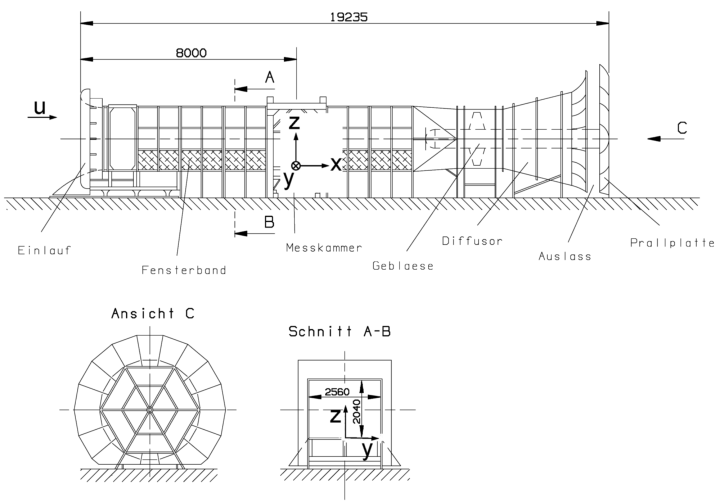 Schematic sketch of the Boundary-Layer Wind Tunnel